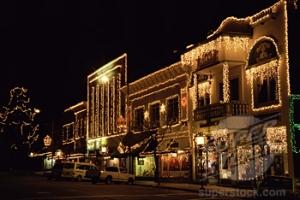 Buildings lit up at night, Ashland, Oregon, USA